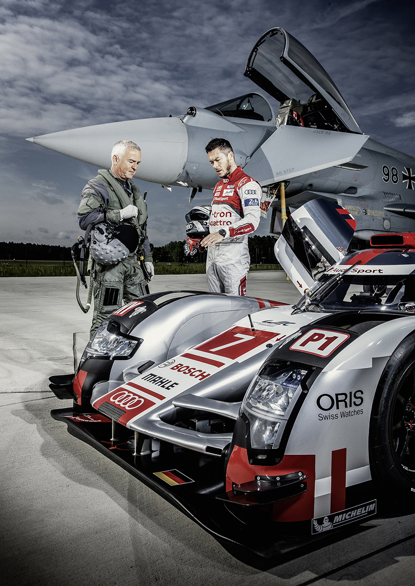 PASSION - FLIGHT CLUB André Lotterer, Le Mans racing driver and Geri Krähenbühl, Chief test pilot