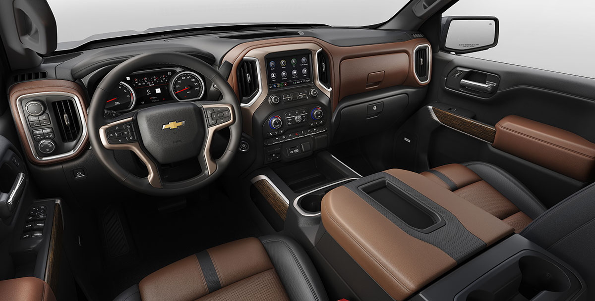 The all-new 2019 Silverado High Country interior features more p
